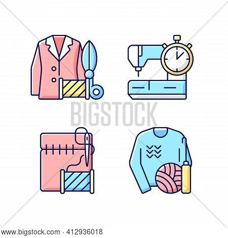 Outfit Repair Services Rgb Color Icons Set. Custom Clothes Production. Needlecraft, Tailor Workshop.
