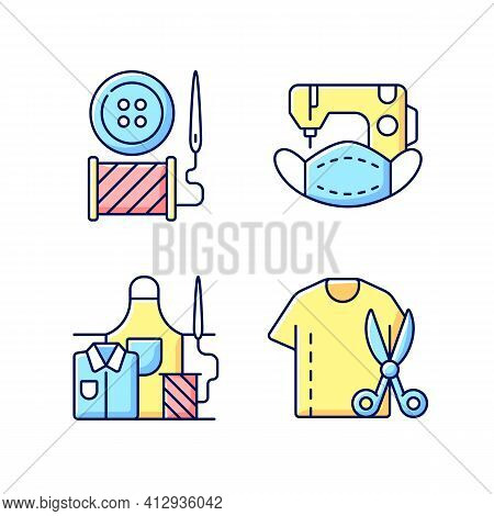Clothing Alteration Rgb Color Icons Set. Button Replacement. Mask Sewing. Work Wear Fix. Resizing Sh