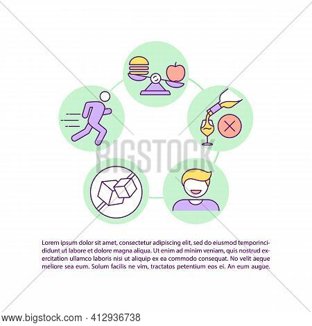 Healthy Lifestyle Concept Icon With Text. No Alcohol, Junk Food. Sport Activity. Improve Metabolism.