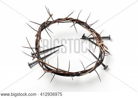 Good Friday, Passion Of Jesus Christ. Crown Of Thorns, Nails Isolated On White Background. Christian