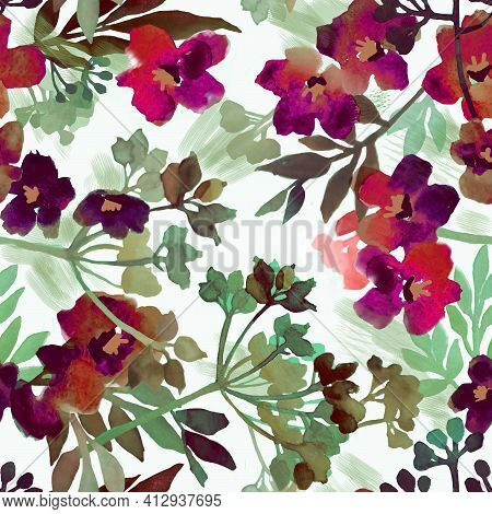 Watercolor Seamless Botanical Blur Pattern With Tropical Flowers, Leaves, Twigs On A White Backgroun