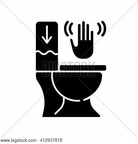 Touchless Toilet Flush Black Glyph Icon. Advanced Flushing Systems That Do Not Require Contact With