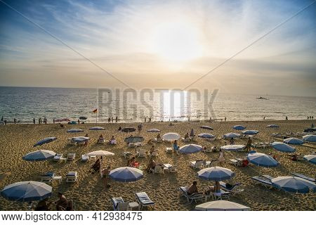 Alanya , Turkey- October 20, 2020:Sunset view on Cleopatra's beach  on suny day Alanya. Turkey.
