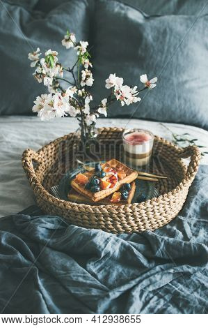 Waffles With Blood Orange And Blueberries, Rose Latte In Glass And Blooming Flower