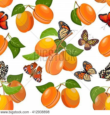Pattern With Apricots And Butterflies.apricot Branches And Multicolored Butterflies On A White Backg
