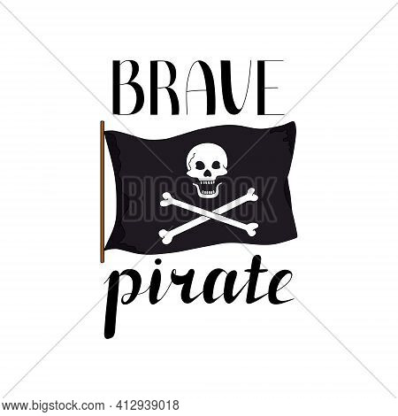 Pirate Flag. Black Flag With A White Skull And Bones. Design Elements For A Pirate Party. White Back
