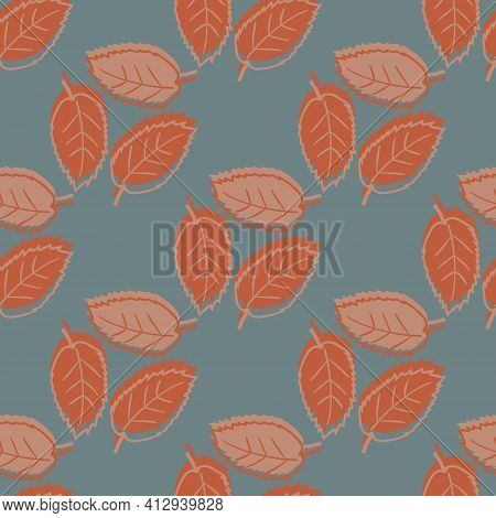 Elm Leaf Seamless Vector Pattern Fall Background. Backdrop Of Groups Of Hand Drawn Rusty Red Leaves