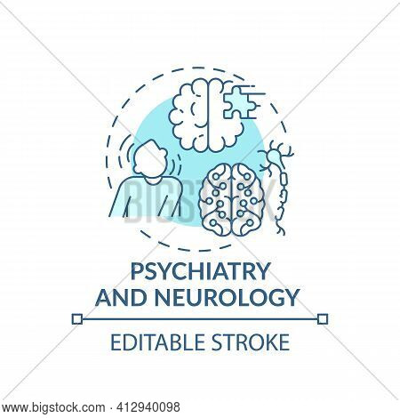 Psychiatry And Neurology Blue Concept Icon. Mental Disorder. Problem With Brain Health. Medical Assi