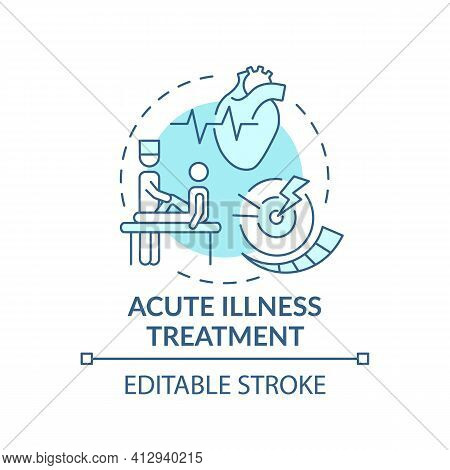 Acute Illness Treatment Blue Concept Icon. Patient Visit General Practitioner. Health Treatment. Fam