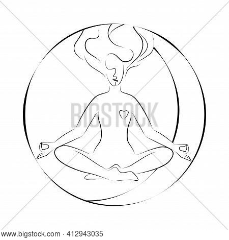 Woman In Lotus Position. Vector Illustration Of Lineart Style. Yoga Pose Flat Line Icon