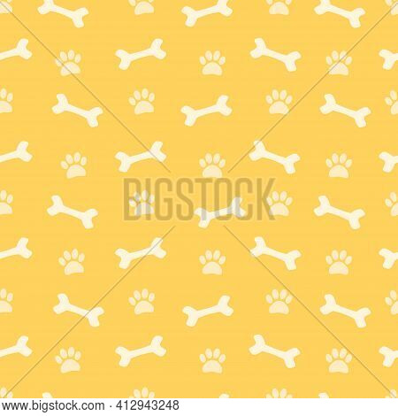 Bright Cute Seamless Pattern. Bones And Dog Tracks. Endless Vector Background.