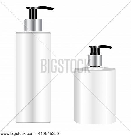 Pump Bottle Mockup. Cosmetic Shampoo Dispenser. Liquid Soap Plastic Pump Dispenser Bottle, 3d Vector