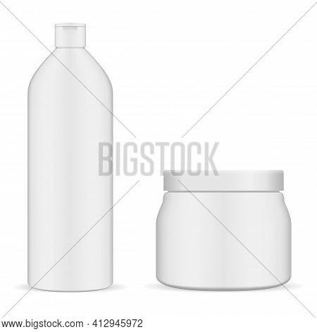 Cosmetic Jar, Shampoo Bottle, White Plastic Cream Jar Mockup. Cosmetic Creme Package Blank. Realisti