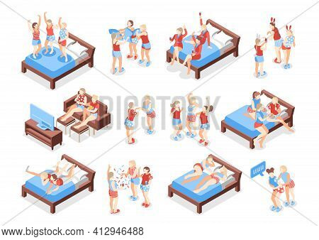 Pajama Party Isometric Recolor Set Of Isolated Icons With Human Characters In Nightwear On Blank Bac
