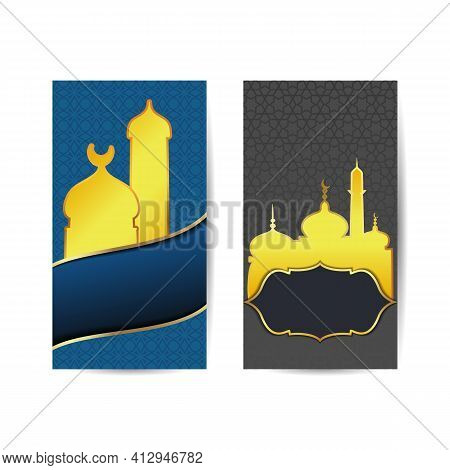 Ramadan Kareem Greeting Banners Set Design Of Vector Mosque And Lantern, Crescent Moon And Twinkling