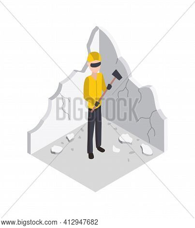 Isometric Worker. Home Repair Isometric Form With Craftsman Dismantling The Wall . Professional Peop