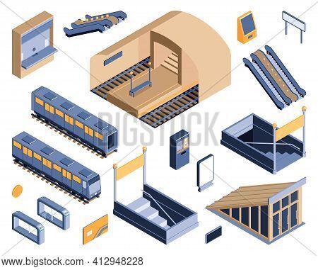 Subway Metro Underground Railway Transportation Isometric Set With Entry Exit Staircases Escalator T