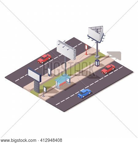 Isometric Advertising Constructions Composition With Billboard Unipol Video Board Holder Along City