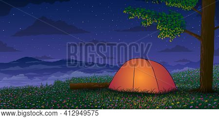 Vector Illustration Of Camping In The Mountains In Spring At Starry Night. Glowing Tent In Flowering