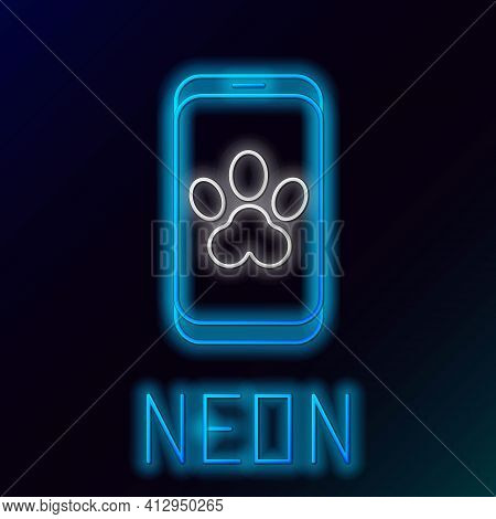 Glowing Neon Line Online Veterinary Clinic Symbol Icon Isolated On Black Background. Cross With Dog