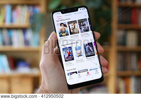 Warsaw, Poland - January 29, 2021: User Browsing Movies For Rent In Video-on-demand Google Play Stor