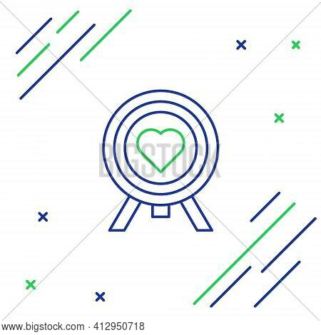 Line Heart In The Center Of Darts Target Aim Icon Isolated On White Background. Valentines Day. Colo