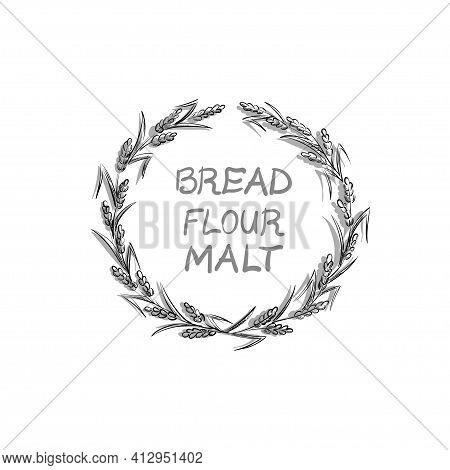 Vector Image Of A Wheaten Wreath, A Wreath Of Spikelet. Bread, Flour, Malt Inscription In The Center