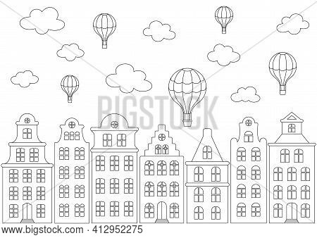 Coloring page with street panorama. European old building, facades of historical houses in the Dutch style and hot air balloons in the sky. Black and white outline illustration on a white. Vector design template for kids coloring book, poster, banner