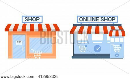 Offline And Online Shop, Payment In Store Choice. Change Business Commerce On E-commerce. Shop In Si