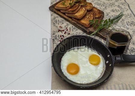 Scrambled Eggs In Metal Pan, Delicious Breakfast