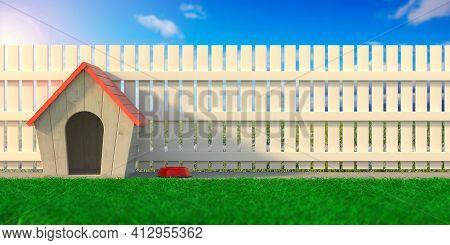 Dog House At Home Backyard, Wooden Fence Background. 3D Illustration