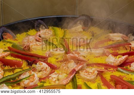 Close Up On Paella Spanish Traditional Food Valencia