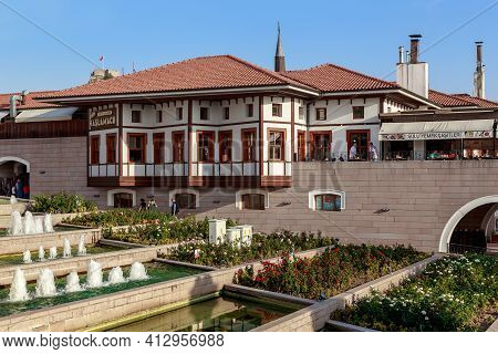 Ankara, Turkey - October 12, 2020: These Are Fountains Located In Cascades In The Haci Bayram Mosque