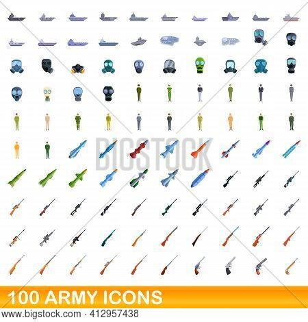 100 Army Icons Set. Cartoon Illustration Of 100 Army Icons Vector Set Isolated On White Background