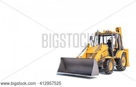 excavator scraper on the white background. 3d render.