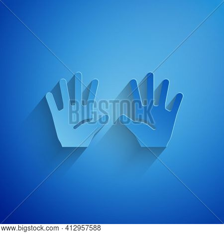 Paper Cut Medical Rubber Gloves Icon Isolated On Blue Background. Protective Rubber Gloves. Paper Ar