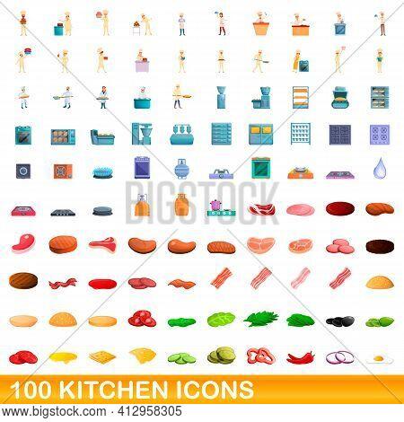 100 Kitchen Icons Set. Cartoon Illustration Of 100 Kitchen Icons Vector Set Isolated On White Backgr