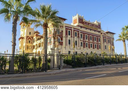 Alexandria - Egypt - October 08, 2020: Beautiful View Of Montaza Palace Exterior In Montazah Public