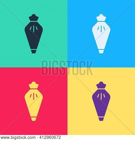 Pop Art Pastry Bag For Decorate Cakes With Cream Icon Isolated On Color Background. Kitchenware And
