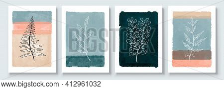Minimalistic Watercolor Painting Artwork. Earth Tone Boho Foliage Line Art Drawing With Abstract Sha