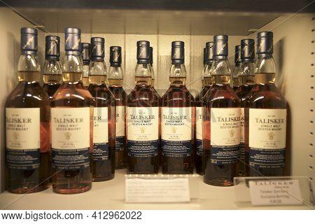 Skye Island (scotland), Uk - August 14, 2018: Whisky Bottles  In Talisker Distillery. Carbost, Loch