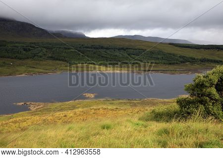 Skye Island (scotland), Uk - August 15, 2018: Typical Landscape Of Scotland, Isle Of Skye, Inner Heb