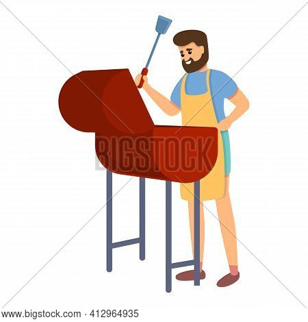 Weekend Bbq Icon. Cartoon Of Weekend Bbq Vector Icon For Web Design Isolated On White Background