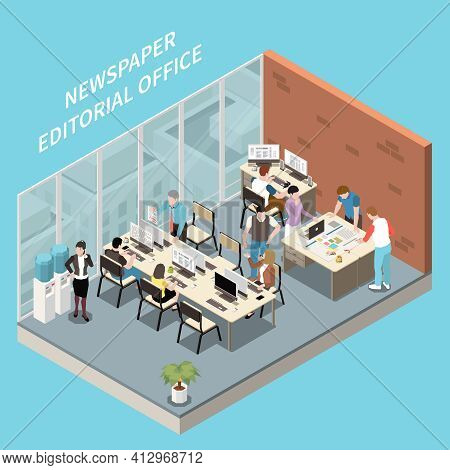 Isometric Interior Of Newspaper Editorial Office And Personnel At Work 3d Vector Illustration