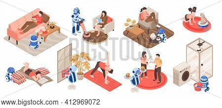 Isometric Icons Set With Robots Doing Housework Cleaning Washing Serving Food At Home Isolated On Wh