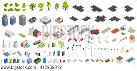 City Constructor Isometric Set With Buildings And Infrastructure Isolated Vector Illustration