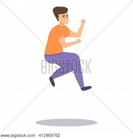 Active Jumping Boy Icon. Cartoon Of Active Jumping Boy Vector Icon For Web Design Isolated On White
