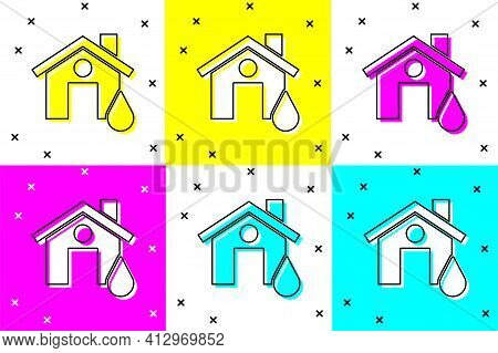 Set House Flood Icon Isolated On Color Background. Home Flooding Under Water. Insurance Concept. Sec