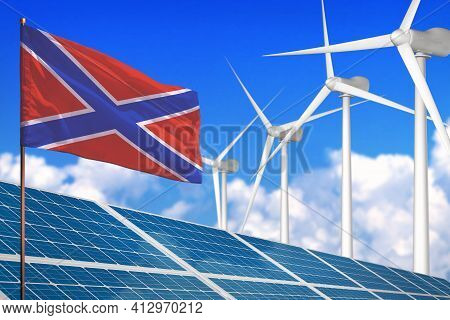 Novorossia Solar And Wind Energy, Renewable Energy Concept With Windmills - Renewable Energy Against