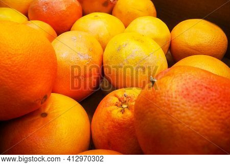 Large Delicious Fresh Oranges For Sale At The Grocery Market.
